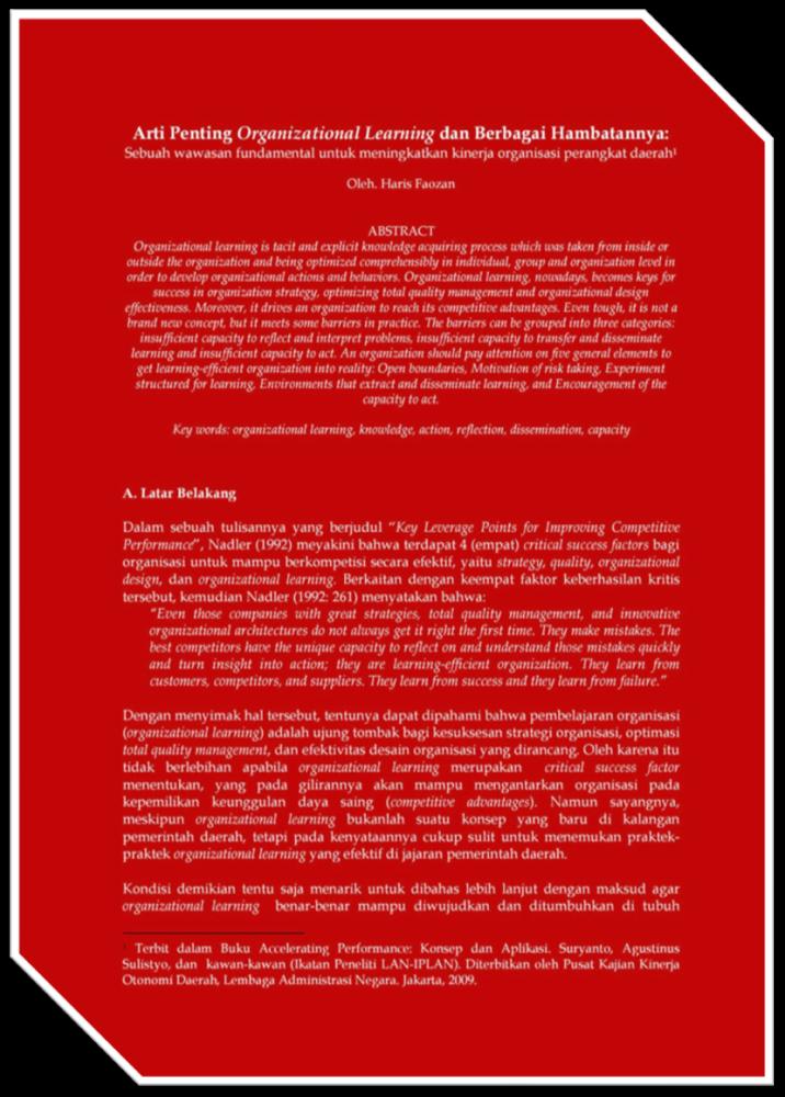 Arti Penting Organizational Learning Dan Berbagai Hambatannya (Haris Faozan, 2009)