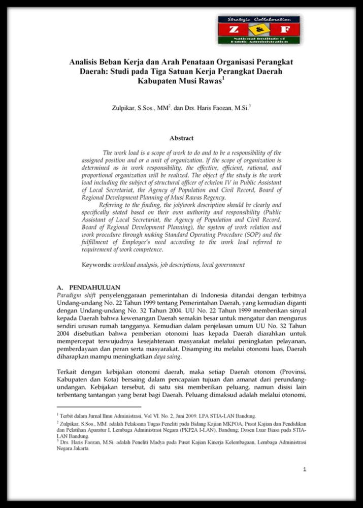 Analisis Beban Kerja dan Arah Penataan Organisasi Perangkat Daerah (Zulpikar dan Haris Faozan, 2009)